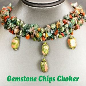 Gemstone Chips Choker Necklace